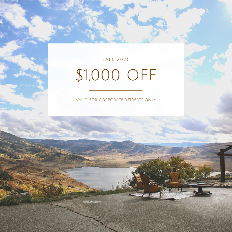 Fall 2020 Corporate Retreat Promotion - Group Specials